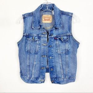 Levi's Denim Blue Button Vest Medium